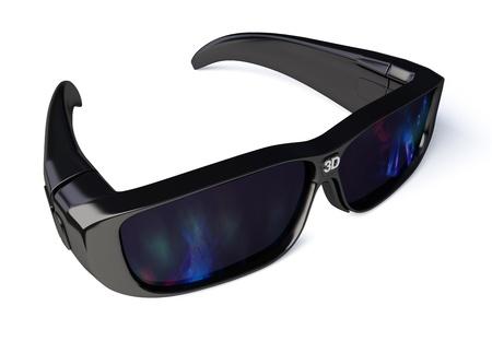 Black 3D glasses isolated on white