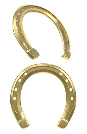 horseshoe: Golden Horseshoe isolated on white Stock Photo