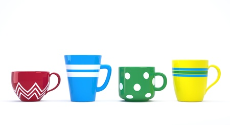 Funny colorful ceramic cups in a row 3D image photo