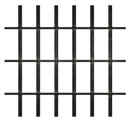cellule de prison: Barreaux rouillés isolé sur blanc