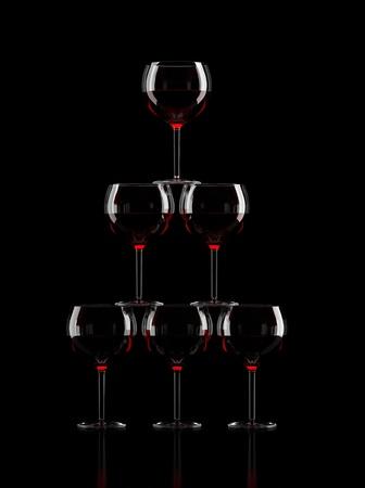 Wine Glass Pyramid on black background
