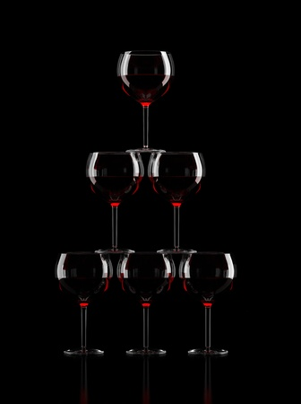 Wine Glass Pyramid on black background