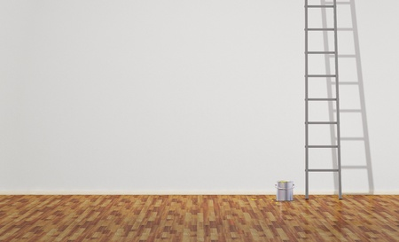 Ladder and Paint Can  Empty Room Stock Photo - 13034073