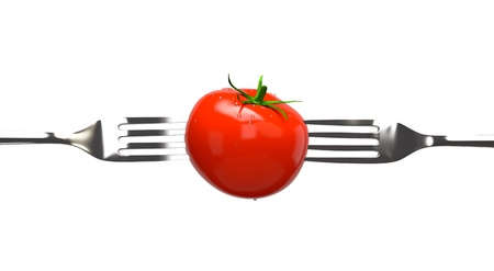 Tomato and two forks  Concept image Stock Photo - 13907804