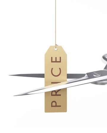 slash: Scissors cutting string on a price tag