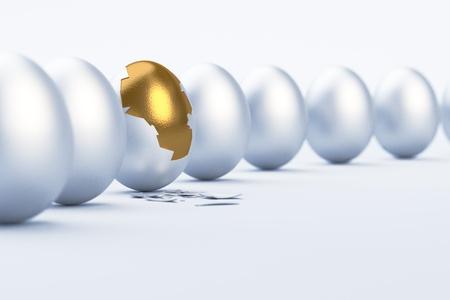 Golden Egg Difference Einzigartigkeit Konzept Bild Standard-Bild