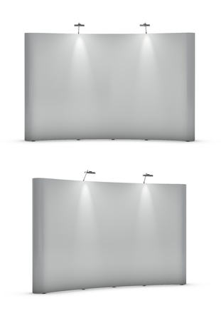 Big blank exhibition stands isolated Stock Photo