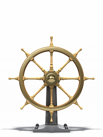 Old Ship Wheel isolated Stock Photo