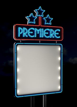 neon sign: Neon Premiere sign  Empty space  Stock Photo