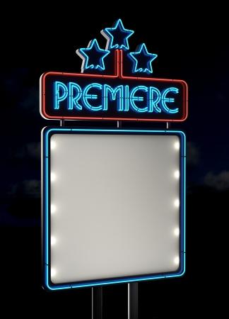 movie sign: Premiere de ne�n signo vac�o del espacio Foto de archivo