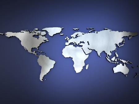 Metallic Mappa del mondo Archivio Fotografico - 15008250