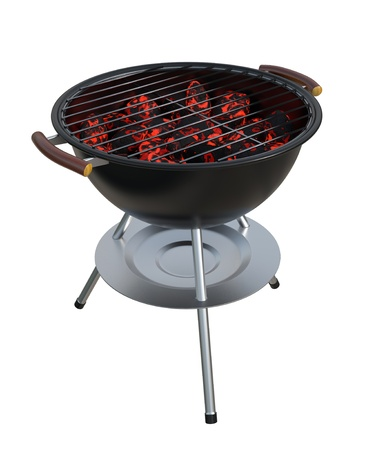 Charcoal Grill isolated on white