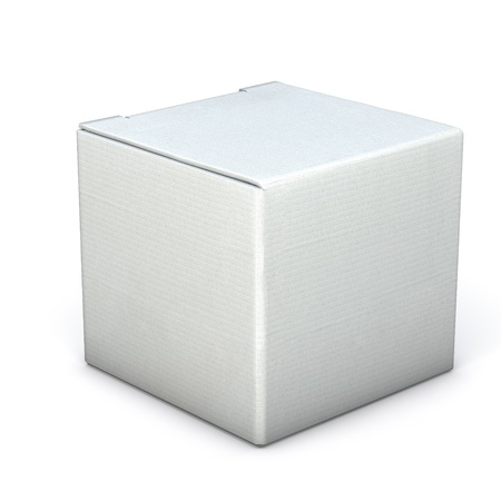 Grey box isolated on white Reklamní fotografie