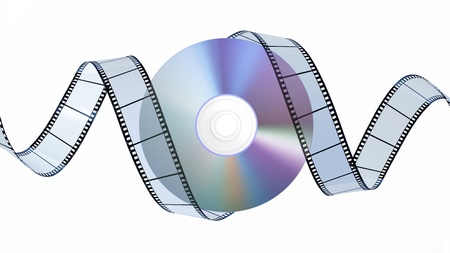DVD Disc and Filmstrip Stock Photo