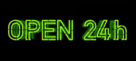 Open 24 - Neon Sign on black Archivio Fotografico