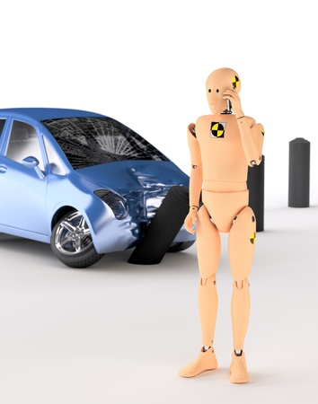 physical test: Crash Test Dummy after the crash Stock Photo