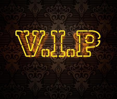 Neon VIP sign isolated on black Archivio Fotografico