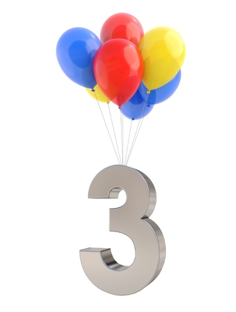 Colorful Balloons with metallic Number  photo