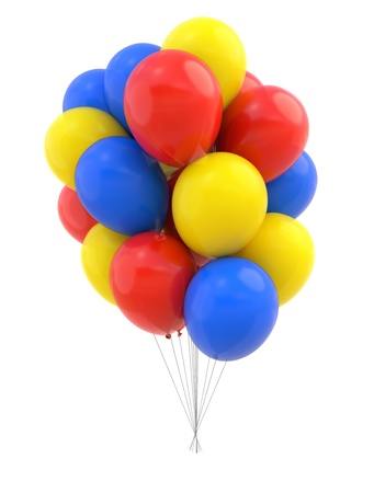 Colorful Balloons isolated on white  Design element