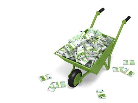 carretilla: Carretilla llena de dinero
