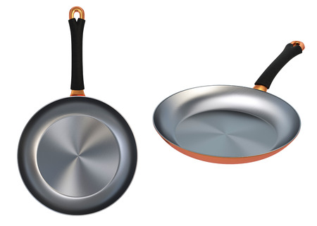 Copper Frying Pan isolated  Clipping paths