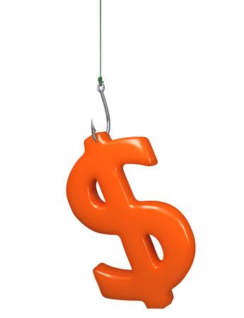 Dollar Sign on a Fish Hook  Money Concept Archivio Fotografico