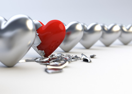 Metallic Hearts - Difference   Individuality Concept Stock Photo