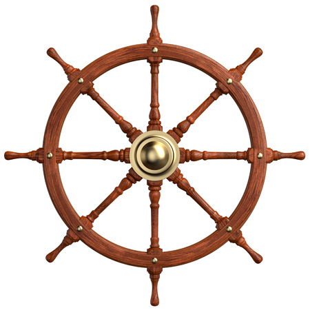 Wooden Ship Wheel isolated on white. Clipping paths
