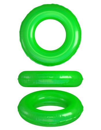 Green Swim Rings on White.
