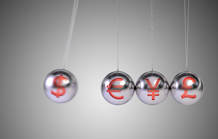 newtons cradle: Newtons Cradle - Financial Concept Stock Photo