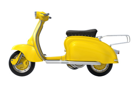 Yellow Retro Scooter on White Background