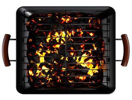 Rectangle Charcoal Grill isolated. Clipping paths Archivio Fotografico