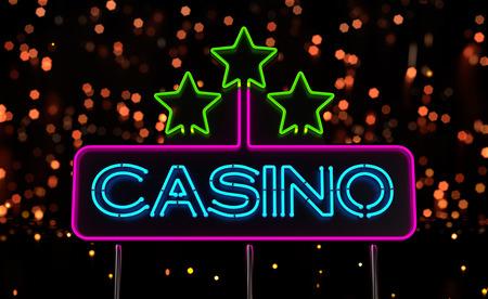 Neon Casino Sign. 3D render