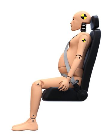 dummy: Crash Test Dummy Female Pregnant. Safety Concept Stock Photo