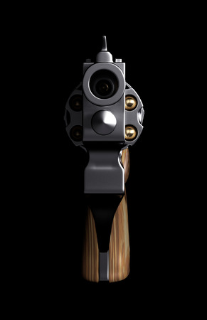 bullet camera: Revolver Isolated on Black Pointing Directly at Camera