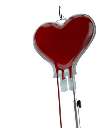 heart health: Blood Bag Heart Shape on White. Blood Donation Concept Stock Photo