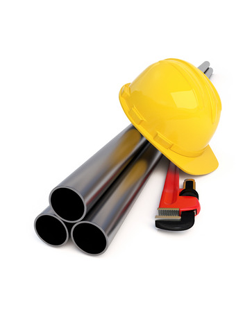 Hard Hat, Pipe Wrench and Pipes on white. Clipping path Stock Photo