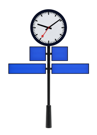 Post Clock isolated on White. Clipping path Archivio Fotografico