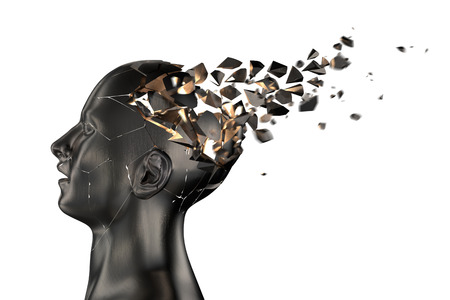human head: Human Head Breaks into Pieces. 3D illustration Stock Photo