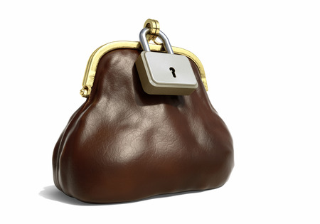 Leather Purse for Coins with Lock. Financial Concept Stock Photo