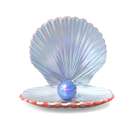 Blue Pearl in a Shell isolated on White. 3D illustration
