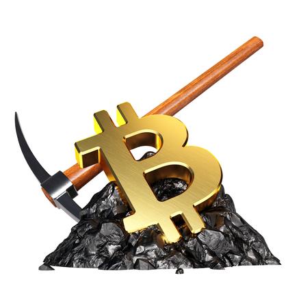Bitcoin 마이닝 개념. 3D 일러스트 레이션