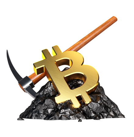 Bitcoin Mining Concept. 3D illustratie Stockfoto