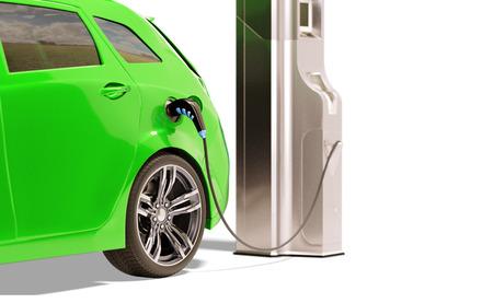 Electric Vehicle Charging Station. 3D illustration
