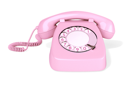 Pink Rotary Phone isolated on White Background