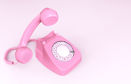 Pink Rotary Phone isolated on Pink Background