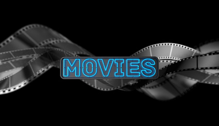 Neon Movies Sign on Dark Background. 3D illustration