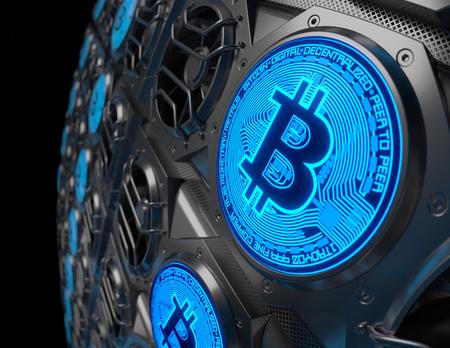 Bitcoin Mining Concept. 3D illustration Archivio Fotografico