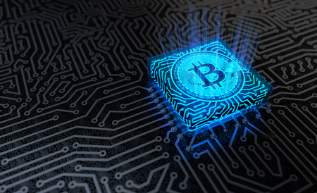 microcircuit: Bitcoin Mining Concept. 3D illustration Stock Photo