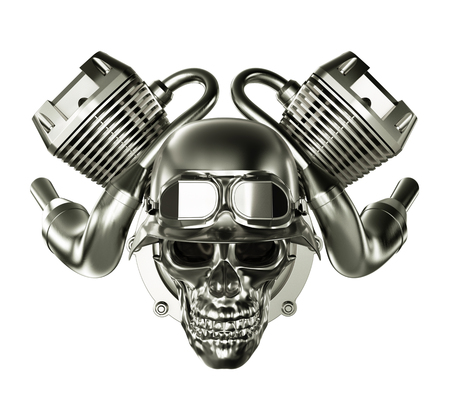 Abstract Engine Motor with Skull on White Background